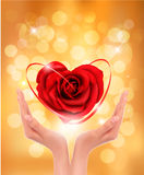 Love concept. holding a red heart in hands. Vector illustration Royalty Free Stock Photo