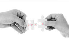 Love concept - Jigsaw of love in Black & White color Royalty Free Stock Photo