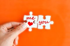 Love concept with jigsaw puzzle with me and you Stock Photography