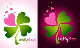 Love Concept. Lucky Love concept with love hearts instead of clover`s petals Stock Photo