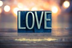 Love Concept Metal Letterpress Type Stock Photo