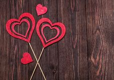 Love concept for mother`s day and valentine`s day. Valentine. Love. Valentine`s Day postcard. Happy Valentine`s day hearts on wood. En background. Valentine card Royalty Free Stock Photo