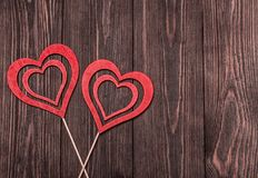 Love concept for mother`s day and valentine`s day. Valentine. Love. Valentine`s Day postcard. Happy Valentine`s day hearts on wood. En background. Valentine card Royalty Free Stock Image
