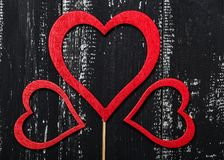 Love concept for mother`s day and valentine`s day. Valentine. Love. Valentine`s Day postcard. Happy Valentine`s day hearts on wood. En background. Valentine card Royalty Free Stock Photos