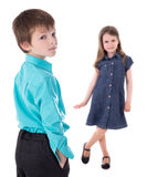 Love concept - portrait of cute little boy and little girl isola Royalty Free Stock Photos