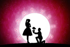 Love concept. Red background of astrology and love concept Stock Photo
