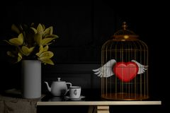 Love and concept . red heart in bird cage .Valentines day.3d ren. Dering. 3d illustration.minimal style Stock Photo