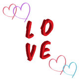 Love concept red text hearts isolated white background Royalty Free Stock Image