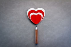 Love concept with red and white paper heart shape with pencil Royalty Free Stock Photography