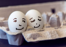 Love concept represented with a couple of eggs Stock Photography