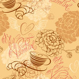 Love concept - seamless pattern with cup of coffee Stock Images