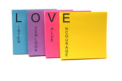 LOVE Concept Sticky Notes Stock Images