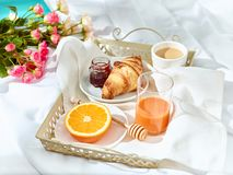 The Love lconcept on table with breakfast. The Love concept on table with breakfast, coffee, cake, flowers stock photo