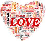 Love concept in tag cloud Stock Photos