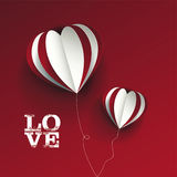 Love concept with three dimentional heart shapes Stock Photos