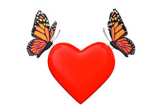 Love concept. Two butterflies with heart Royalty Free Stock Photography