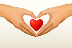 Love concept. Two hands made in the form of heart. Royalty Free Stock Photo