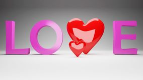 Love concept with two hearts Royalty Free Stock Photo