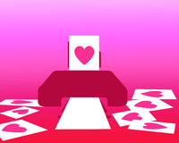 Love concept on Valentine's day by Printed pink heart paper out of printer Royalty Free Stock Photos