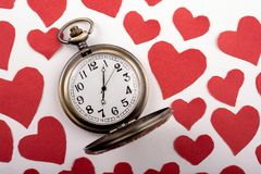 Concept for valentine's day on  retro watch. Love concept for valentine's day on  retro watch Royalty Free Stock Images