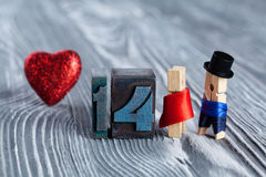 Love concept. Valentines day. 14 february.  Clothespins Stock Images