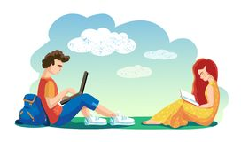 Love concept. Vector. Lovers Students together spend leisure time in open air. girl reading book. boy working on laptop. royalty free illustration