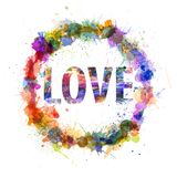 Love concept, watercolor splashes as a sign Royalty Free Stock Image