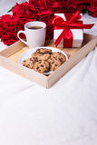Love concept - wooden tray with chocolate chip cookies, cup of t Royalty Free Stock Image