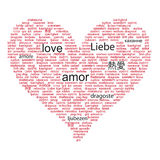 Love concept word in many languages Royalty Free Stock Photos