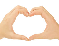 Love concepts - Hands forming a heart. Love concepts - Hands forming a heart on white background(man and woman Royalty Free Stock Photos