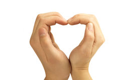 Love concepts - Hands forming a heart. On white background(man and woman Stock Images
