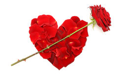 Love concepts - red rose and heart of petals Royalty Free Stock Images