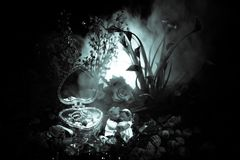 Love concepts of wedding teddy bear in silver heart gift box on table for valentines day and wedding. Dark smoky toned background. Selective focus Stock Image