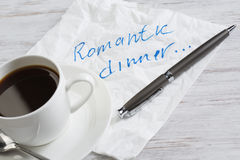 Love confession on napkin. Romantic message written on napkin and cup of coffee on wooden table Stock Photos