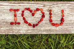 Love Confession. Strawberries are laid out in the letters on a background of green grass and board Stock Photos