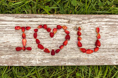 Love Confession. Strawberries are laid out in the letters on a background of green grass and board Royalty Free Stock Image
