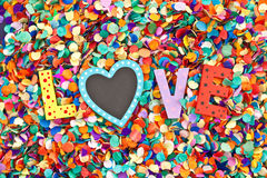 Love on confetti Royalty Free Stock Photography