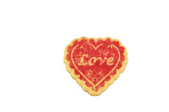 Love cookie. A valentine cookie isolated on a white background Stock Photos