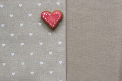 Love cookie heart on napkin. Valentines Day card concept Stock Image