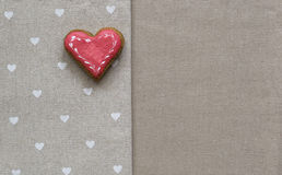 Love cookie heart on napkin. Valentines Day card concept Royalty Free Stock Image