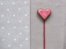 Love cookie heart on napkin. Valentines Day card concept Stock Images