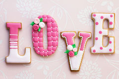 Love cookies. Cookies for Valentines Day in pink Stock Photos