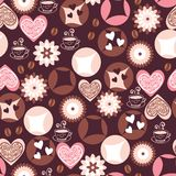 Love cookies and coffee cups pattern Stock Images