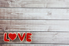 Love cookies. Heart cookies  on wood background with decorations Stock Photography