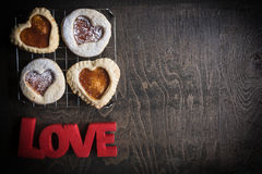 Love cookies with jam Royalty Free Stock Photography