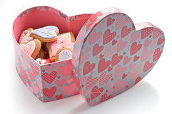 Love cookies in pink heart box Royalty Free Stock Images