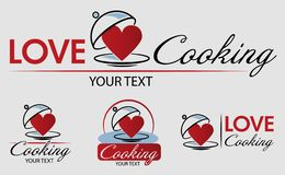 Love Cooking Logo Template. Bon appetit. Hand drawn vector illustration. Can be used for badges, labels, logo, bakery, street fes stock illustration