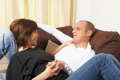 Love on the couch Royalty Free Stock Photos