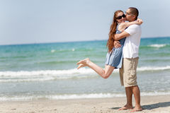 Love couple. Hugging, in the beach stock photography