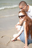 Love couple. On the beach royalty free stock photography